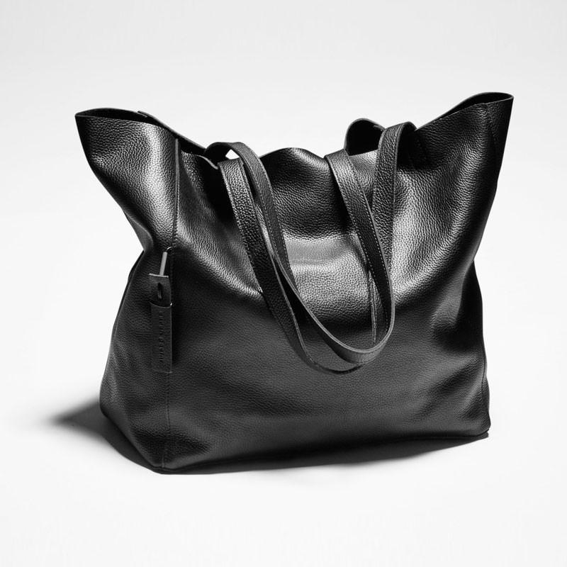Black leather large tote bag by Sarah Pacini