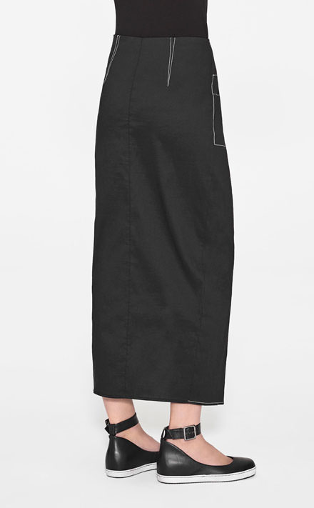 Black linen long straight skirt by Sarah Pacini